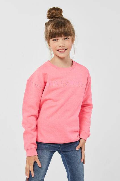 Meisjes awesome print sweater Roze