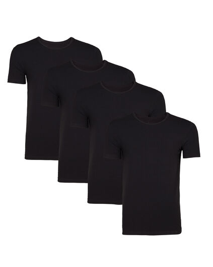 HEREN T-SHIRT, 4 PACK Zwart
