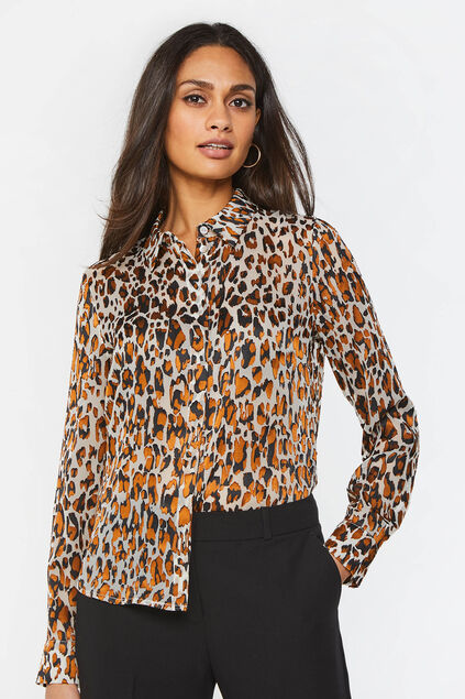 Dames semi-transparante blouse met dessin All-over print