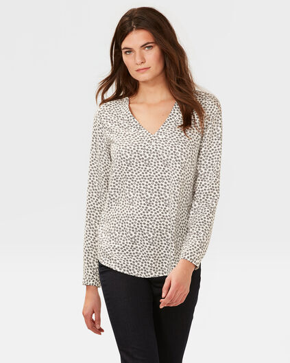 DAMES ALL-OVER CIRCLE PRINT BLOUSE Wit