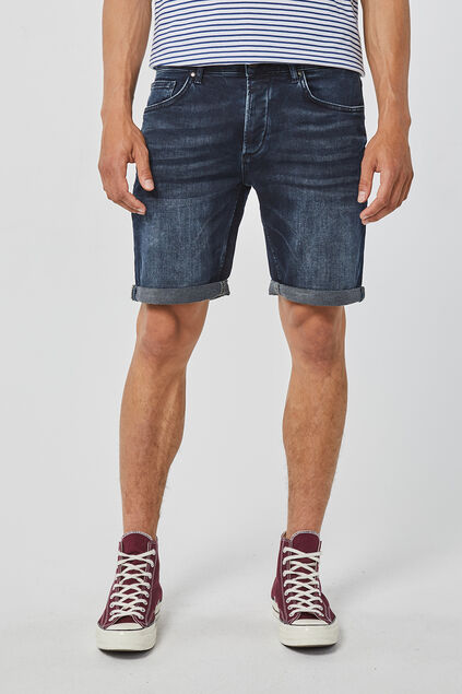 Heren regular fit jog denim short Zwart