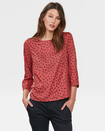 DAMES SQUARE PRINT BLOUSE Saffraan rood
