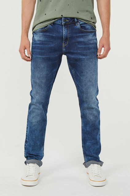 Heren regular straight jog denim jeans Donkerblauw