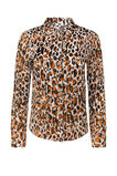 Dames semi-transparante blouse met dessin, All-over print