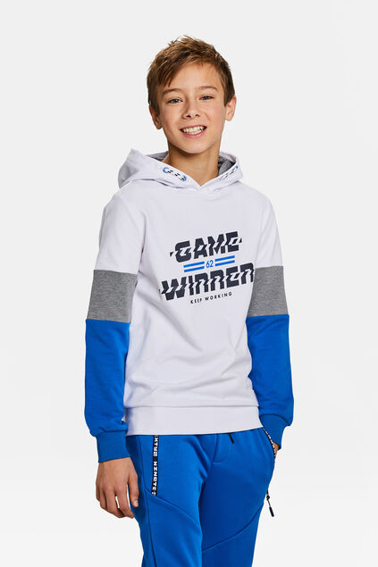 Jongens game winner dessin sweater Wit