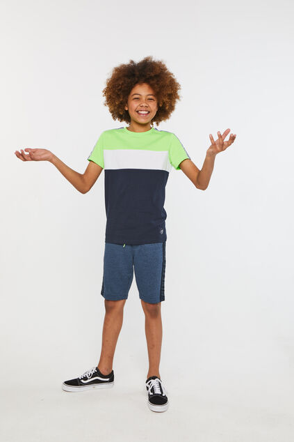 Jongens T-shirt met colourblock Groen