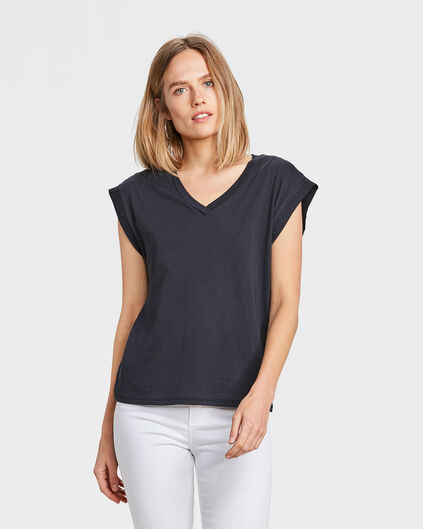 DAMES SOLID T-SHIRT Donkerblauw