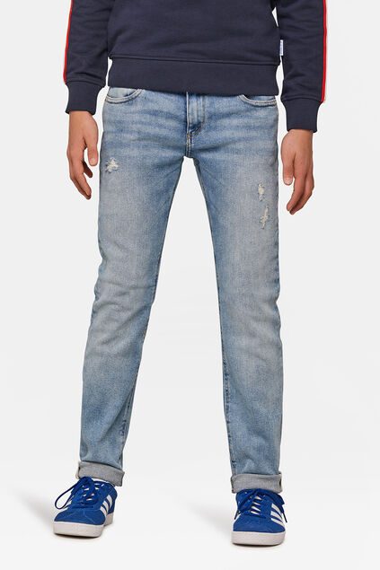 Jongens slim fit rip en repair jeans Blauw