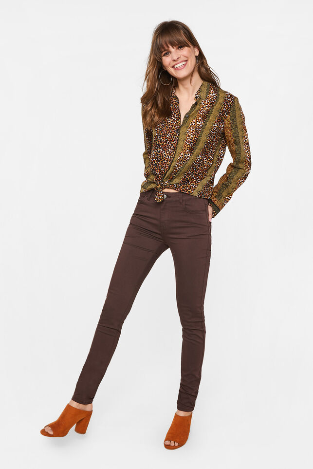 Dames mid rise skinny high stretch broek Bordeauxrood