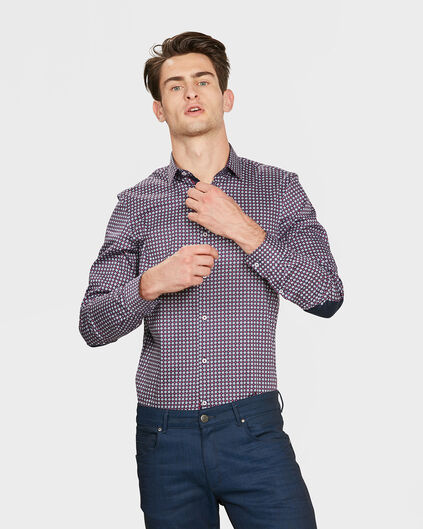 HEREN SLIM FIT GRAPHIC PRINT OVERHEMD Rood