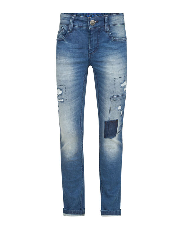 JONGENS SKINNY POWER STRETCH RIP & REPAIR JEANS Blauw