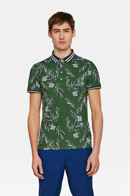 Heren bloemenprint polo Groen