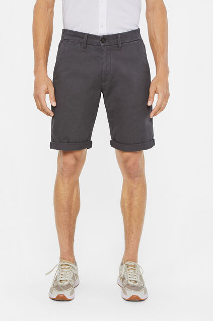 Heren slim fit chinoshort met stretch Donkergrijs