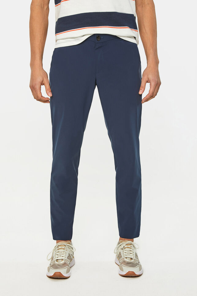 Heren lichtgewicht slim fit pantalon Tech Donkerblauw