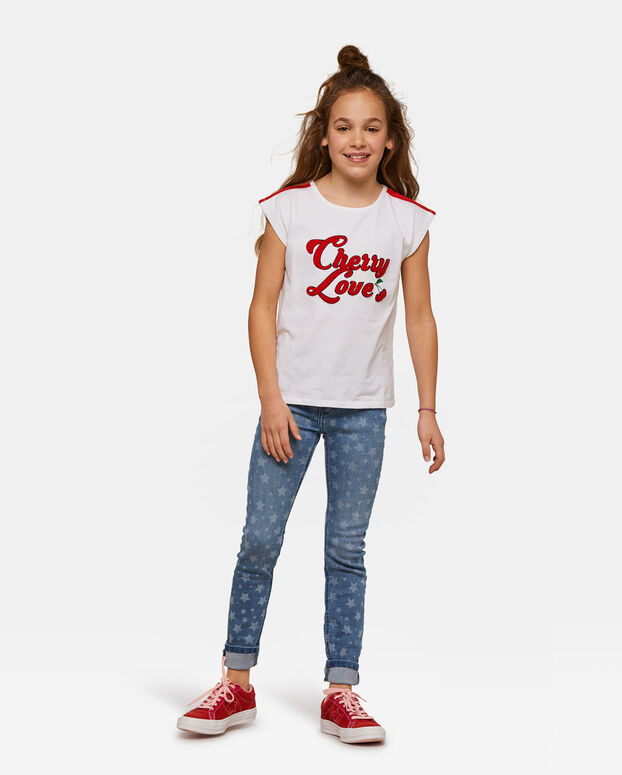 Meisjes Cherry Love T-shirt Wit