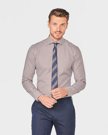 HEREN SLIM FIT FINEST COTTON OVERHEMD Lichtbruin