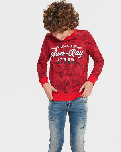 SWEAT-SHIRT TROPICAL BIRD PRINT GARÇON Rouge