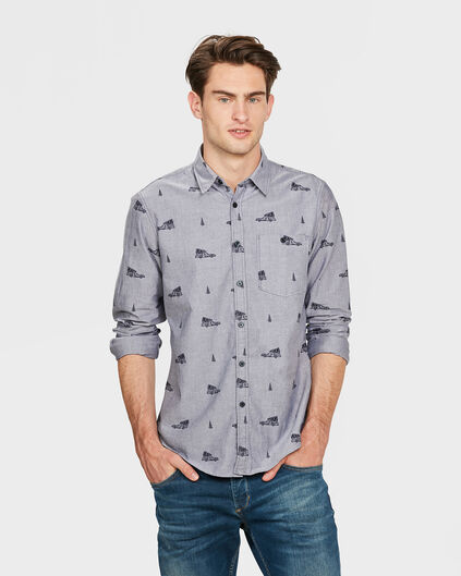 HEREN SLIM FIT PRINTED OVERHEMD Blauw