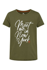 T-shirt New York print fille_T-shirt New York print fille, Vert armee