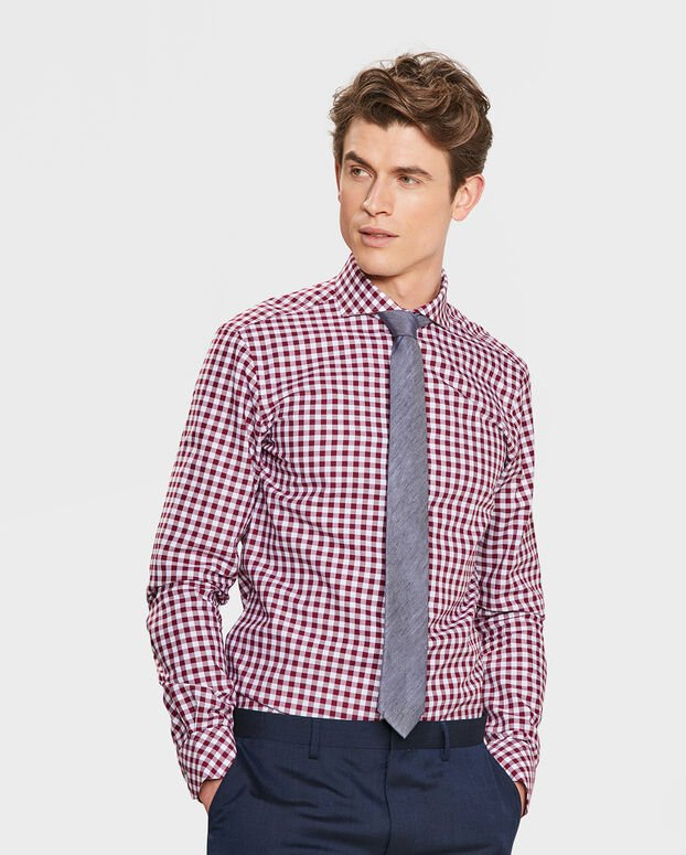 HEREN SLIM FIT CHECKED OVERHEMD Bordeauxrood