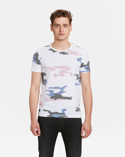 HEREN CAMOUFLAGE PRINT T-SHIRT Wit