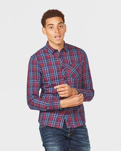 HEREN SLIM FIT BLUE RIDGE CHECK OVERHEMD Donkerblauw