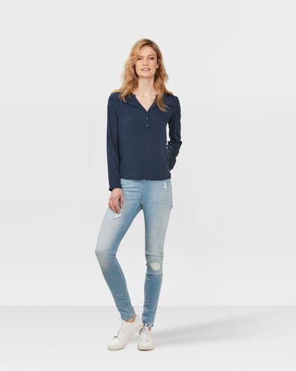 DAMES HIGH RISE SKINNY DESTROYED JEANS Lichtblauw