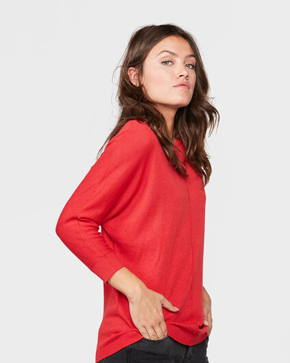 DAMES OVERSIZED KNIT TRUI Rood