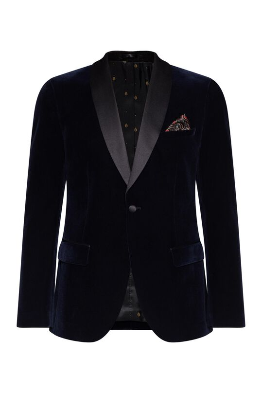 Heren slim fit smoking blazer Marineblauw