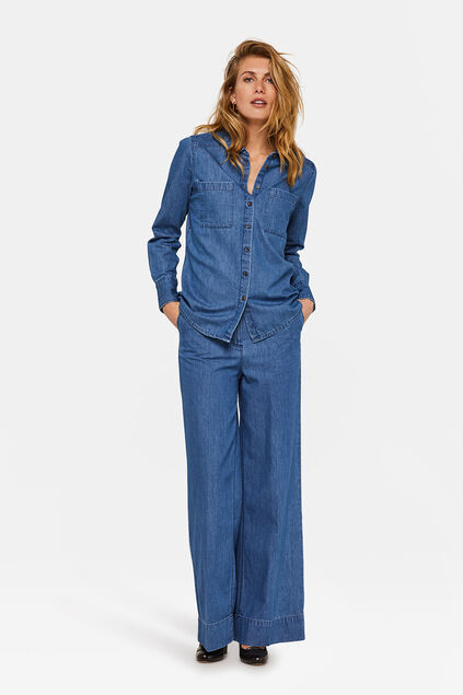 Dames high waist wide leg jeans Blauw