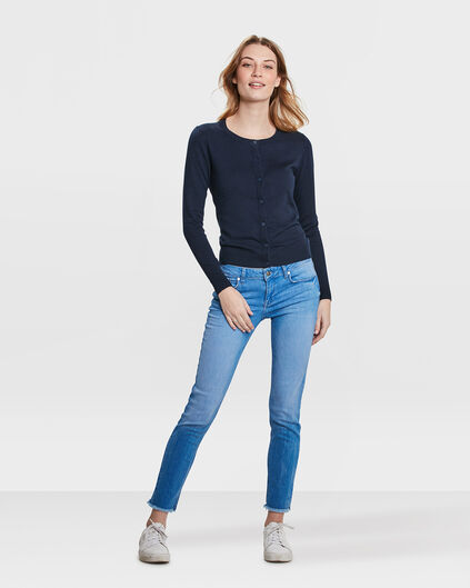 DAMES MID RISE SKINNY FIT HIGH STRETCH CROPPED JEANS Blauw