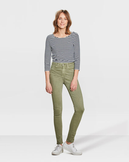 DAMES HIGH RISE SKINNY HIGH STRETCH BROEK Olijfgroen