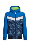 Jongens windjack met capuchon en colourblocking, Felblauw