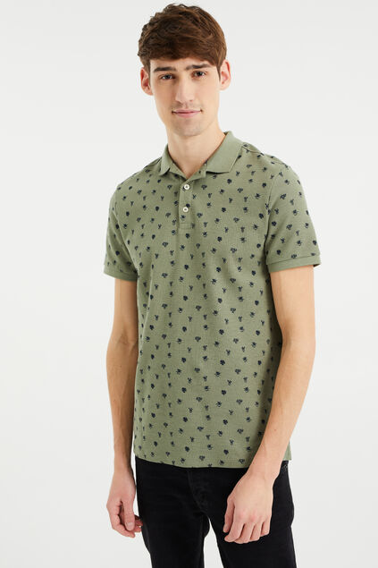 Heren slim fit polo met dessin Grijsgroen