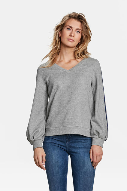 SWEAT-SHIRT SPORTY STRIPE FEMME Gris
