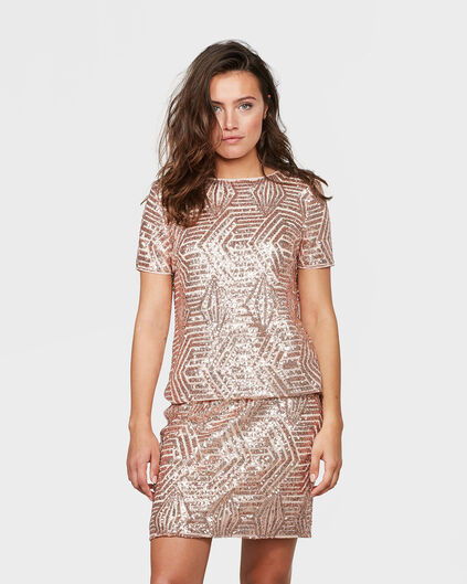 DAMES SEQUIN TOP Zalmroze