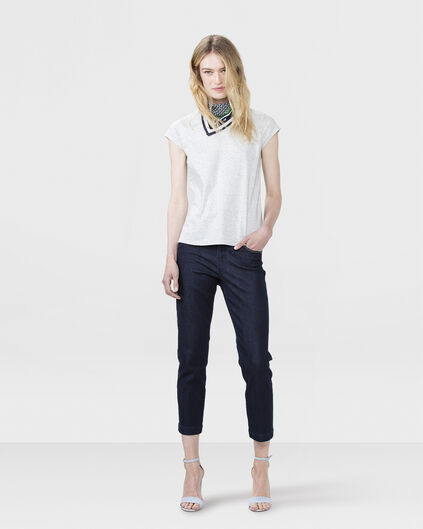 DAMES MID RISE REGULAR CROPPED JEANS Donkerblauw