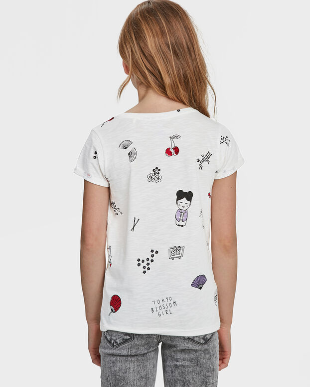 T-SHIRT PRINTED TOKYO BLOSSOM FILLE Blanc