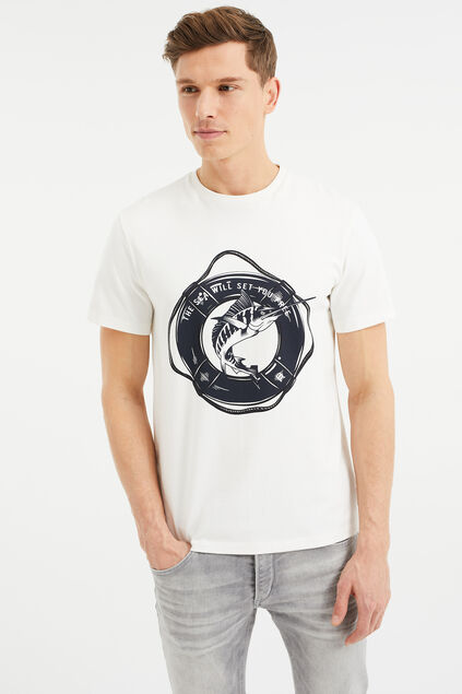 T-shirt à application homme Blanc cassé