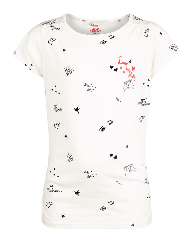 MEISJES PRINTED LOVE TO PARTY T-SHIRT Wit