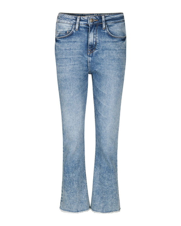 DAMES HIGH WAIST COMFORT STRETCH KICK FLARE CROPPED JEANS Blauw