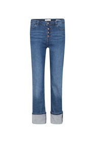 Dames high rise straight leg jeans_Dames high rise straight leg jeans, Blauw