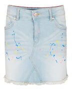 JUPE FRINGED PAINT SPLASHES FILLE_JUPE FRINGED PAINT SPLASHES FILLE, Bleu eclair