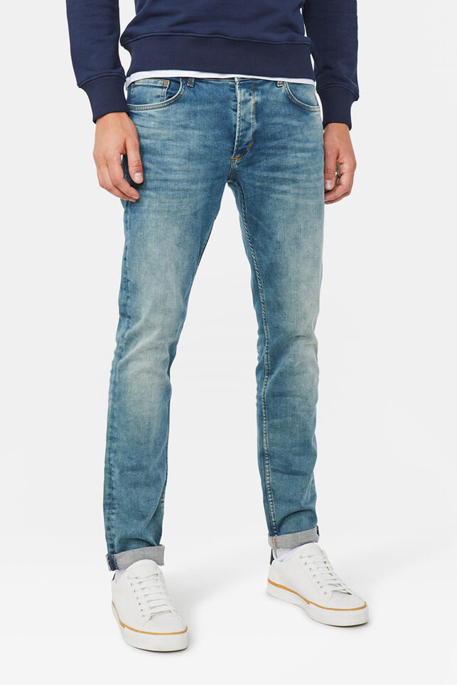 Heren slim tapered super stretch jeans Mosgroen