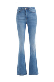 Dames high waist flared jeans met stretch_Dames high waist flared jeans met stretch, Lichtblauw