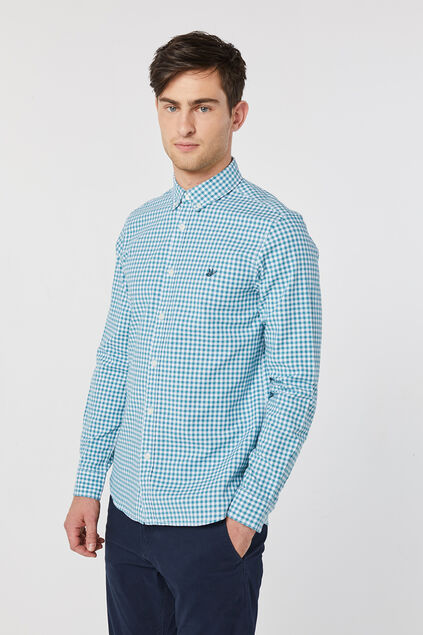 Heren slim fit Oxford geruit overhemd Turquoise