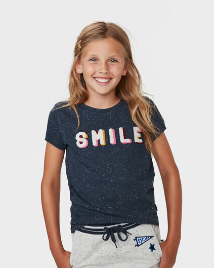 MEISJES SMILE PRINT T-SHIRT Donkerblauw