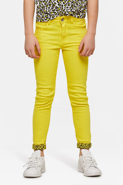 Meisjes super skinny colored jeans Geel