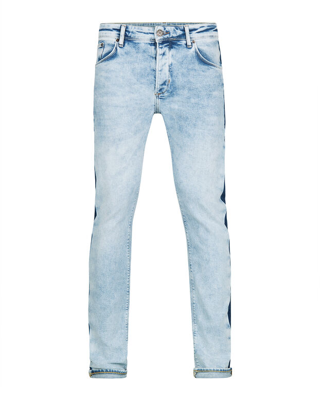 HEREN SKINNY TAPERED STRETCH STREEP DETAIL JEANS Lichtblauw