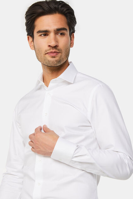 Heren Slim fit luxueus katoenen overhemd Wit